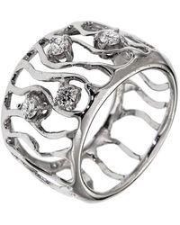 Botta Gioielli - White Gold Diamonds Waves Ring - Lyst