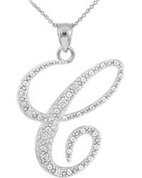 QP Jewellers | Cz Script Letter C Pendant Necklace In Sterling Silver | Lyst