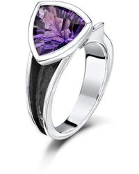 Becky Rowe - Oxidized Sterling Silver & Amethyst Ring | - Lyst
