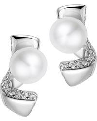 Fei Liu - Rhodium Plated Pirouette Stud Earrings - Lyst