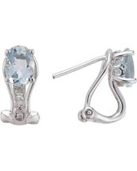 Lali Jewels - 14kt White Gold Diamond And Aquamarine Earring - March Birthstone - Lyst