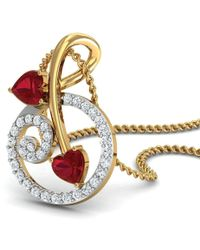 Diamoire Jewels Handmade 18kt Yellow Gold Pendant with a 2.5mm Ruby and Diamonds vXnWKqp