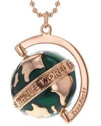 True Rocks - 18kt Rose Gold Plated & Dark Green Medium Spinning Globe Necklace - Lyst