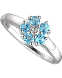 Amore Argento - Rhodium Plated Sterling Silver Daisy Ring - Lyst