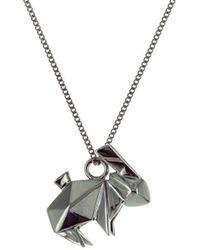Origami Jewellery - Black Silver Mini Rabbit Origami Necklace - Lyst