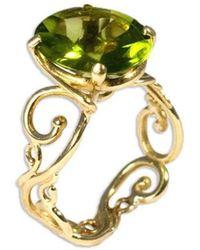 Serena Fox - Scroll Yellow Gold And Peridot Ring - Lyst