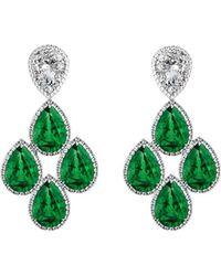 MARCELLO RICCIO - Emerald Diamond Earrings White Gold - Lyst