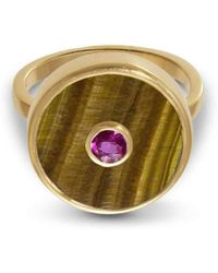Liz Phillips - Europa Ruby And Tiger's Eye Ring - Lyst
