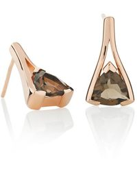 MANJA Jewellery - Valentine Rose Gold Smoky Quartz Earrings - Lyst