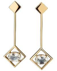 Carolin Stone Jewelry 14kt Yellow Gold Plated Sterling Silver Green Amethyst Sparkling Big Earrings - Metallic