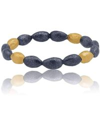 "Lika Behar Collection - Gold And Oxidised Silver ""amanda"" Almonds Bangle Bracelet - Lyst"