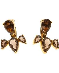 Silk And Steel - Gold Allure Ear Jackets With Smokey Quartz - Lyst