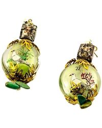 Pats Jewelry - Hand-painted Glass & Green Coral Bird & Flower Earrings - Lyst