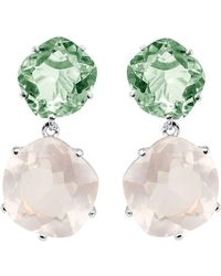 Mishanto London - Talya Green Amethyst And Rose Quartz Drop Earrings - Lyst
