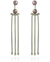 Cara Tonkin - Silver Orbit Tassel Front And Back Earrings - Lyst