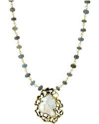 Elisa Ilana Jewelry - Yellow Gold & Pearl & Moss Aquamarine Necklace   - Lyst