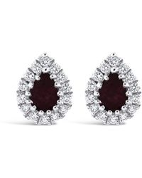 Marmalade Fine Jewellery - 18kt White Gold Ruby And Diamond Pear Shaped Stud Earrings - Lyst