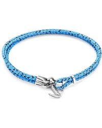 Anchor & Crew - Blue Noir Brighton Silver And Rope Bracelet - Lyst