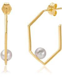 Neola - Minerva Pearl Gold Earrings - Lyst