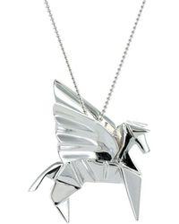 Origami Jewellery Titanium Black Silver Pegaze Necklace exECYJBOOw