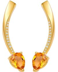 Fei Liu - Polished 18kt Yellow Gold Plated Shooting Star Citrine Short Earrings - Lyst