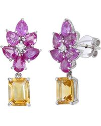 Aara Designer Jewelry - 18kt White Gold, Citrine And Pink Sapphire Cosmos Flower Blossom Earrings - Lyst