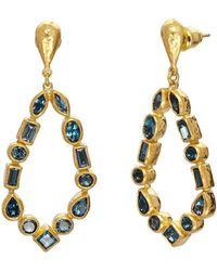 Gurhan - 24kt Yellow Gold Pointelle Earrings With Blue Topaz - Lyst