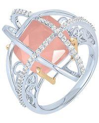 Arya Esha - Cushion Cut Guava Quartz And Diamond Ring - Lyst