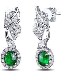 SILVER YULAN - Cabochon Emerald Diamond Leaf Earrings - Lyst