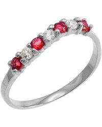 QP Jewellers - Ruby And Cz Wavy Stackable Ring In 9kt White Gold - Lyst