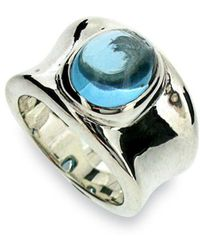 Will Bishop Silver, Gold & Blue Topaz Ring - UK G - US 3 3/8 - EU 45 1/4