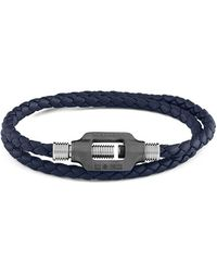 Tateossian - Silver & Navy Leather Double Bolt Silver Bracelet - Lyst