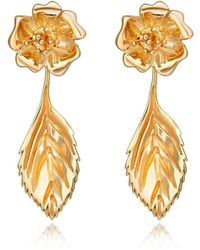 Liz Earle Fair and Fine Wild Rose Stud Earrings With Leaf Drops Gold