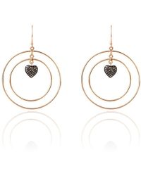 Latelita London Diamond Double Hoop Heart Earring wjX9M