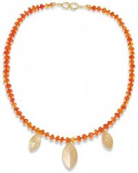Hissia - Carnelian Necklace With Gold Shields Charms - Lyst