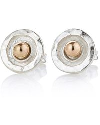 Lavan Gold & Sterling Silver Daisy Hammered Stud Earrings 97qSy