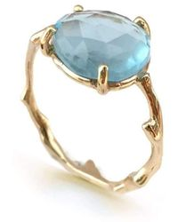 Brandts Jewellery - Twig Ring In Solid Gold With Freeform Rose Cut Blue Topaz - Lyst