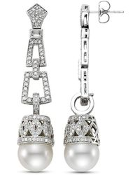 Isaac Westman - 18kt White Gold South Sea Pearl And Diamond Earrings - Lyst