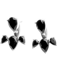 Silk And Steel - Silver Allure Ear Jackets With Black Spinel - Lyst