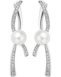 Fei Liu - Rhodium Plated Pirouette 2 Parts Earrings - Lyst
