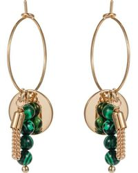 Nadia Minkoff - Yellow Gold Plated Malachite Minimalist Hoop Earrings - Lyst