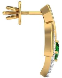 Diamoire Jewels - Hand-carved 10kt Yellow Gold Earrings Set With Premium Diamonds And Emeralds - Lyst