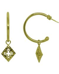 Murkani Jewellery - Medium Hoop Earrings With Diamond Pendants In 18kt Yellow Gold Plate - Lyst