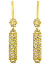 Amy Glaswand - 18kt Gold & Diamond Pave Edge Earrings - Lyst