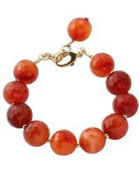 ae85d4f2c Sydney Evan Carnelian Bead & 14k Ladybug Charm Bracelet in Orange - Lyst