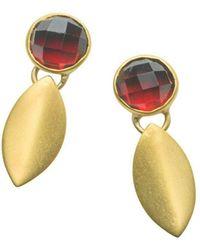 Naomi Tracz Jewellery - Yellow Gold Plated Silver Garnet Petal Dangle Earrings - Lyst