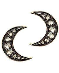 London Road Jewellery - Portobello Yellow Gold Rose Cut Diamond Moon Starry Night Earrings - Lyst