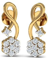 Diamoire Jewels Hand-carved 18kt Rose Gold Nature Inspired Diamond Prong Earrings iCmN3
