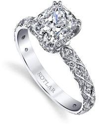 Harry Kotlar Princess Cut Criss Cross Artisan Pave Ring - UK M - US 6 - EU 52 3/4 y8gr2PwND6