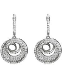 Lustre of London - White Spiral Drop Earrings - Lyst